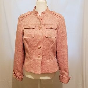 Anthropologie Tapemeasure Pink Brocade Jacket 10